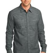 Mens Long Sleeve Washed Woven Shirt