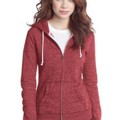 Juniors Marled Fleece Full Zip Hoodie