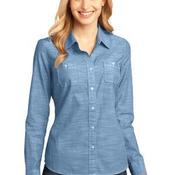 Ladies Long Sleeve Washed Woven Shirt
